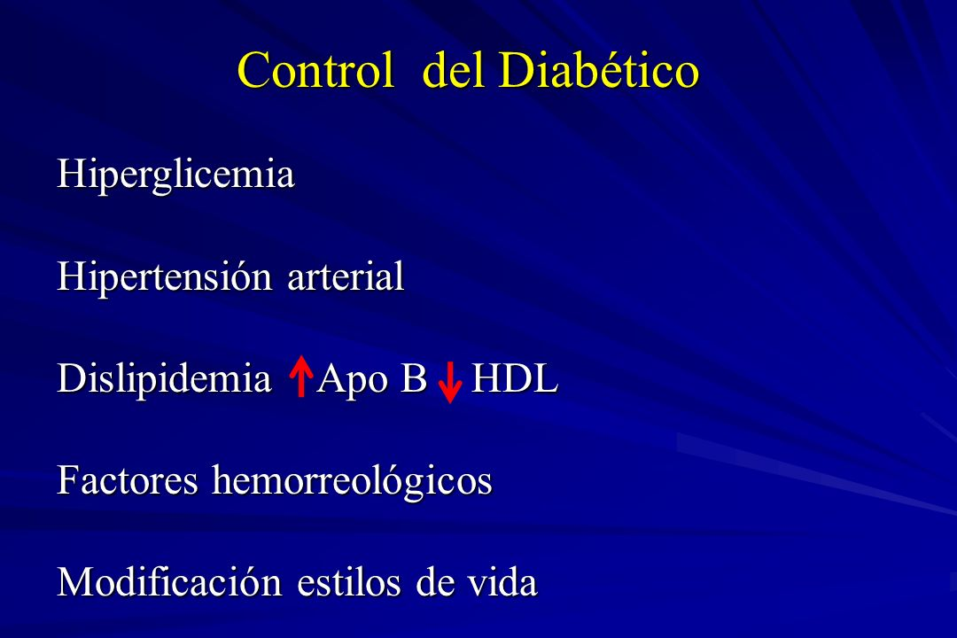 HbA 1c Retinopatía Nefropatía Neuropatía Enfermedad macrovascular DCCT 9 7% 63% 54% 60% 41%* Kumamoto 9 7% 69% 70% – UKPDS 8 7% 17-21% 24-33% – 16%* Diabetes Control and Complications Trial (DCCT) Research Group.
