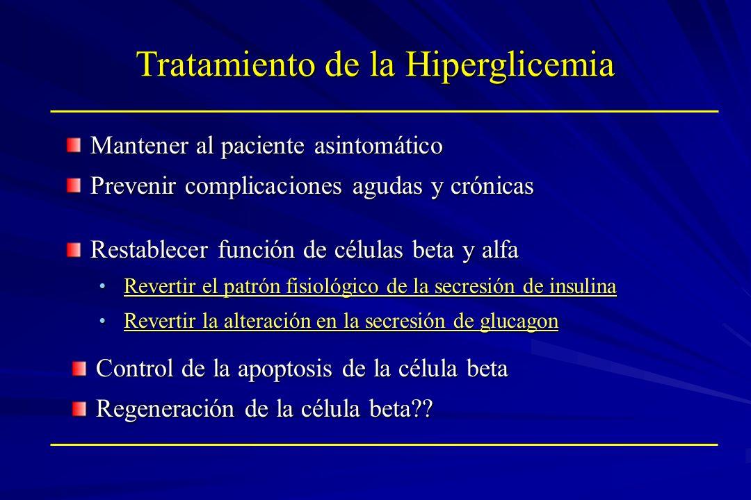 Tratamiento de la Hiperglicemia Mantener al paciente asintomático Prevenir complicaciones agudas y crónicas Restablecer función de células beta y alfa