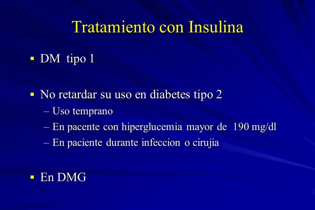 Tratamiento con Insulina DM tipo 1 DM tipo 1 No retardar su uso en diabetes tipo 2 No retardar su uso en diabetes tipo 2 –Uso temprano –En pacente con