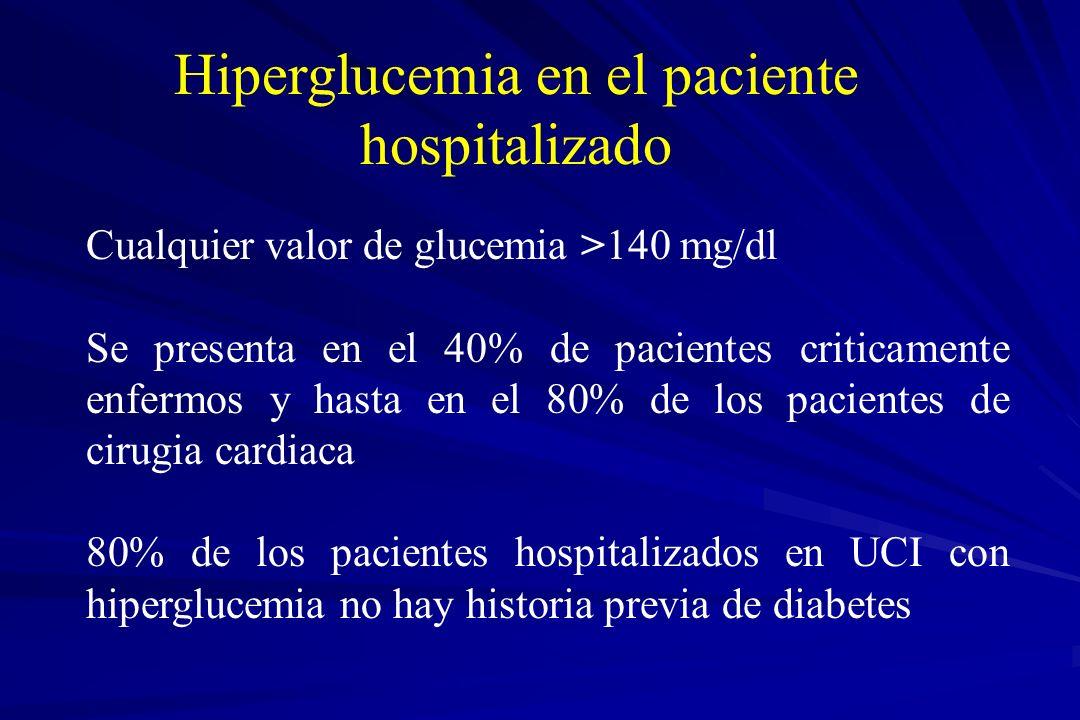 Cualquier valor de glucemia >140 mg/dl Se presenta en el 40% de pacientes criticamente enfermos y hasta en el 80% de los pacientes de cirugia cardiaca