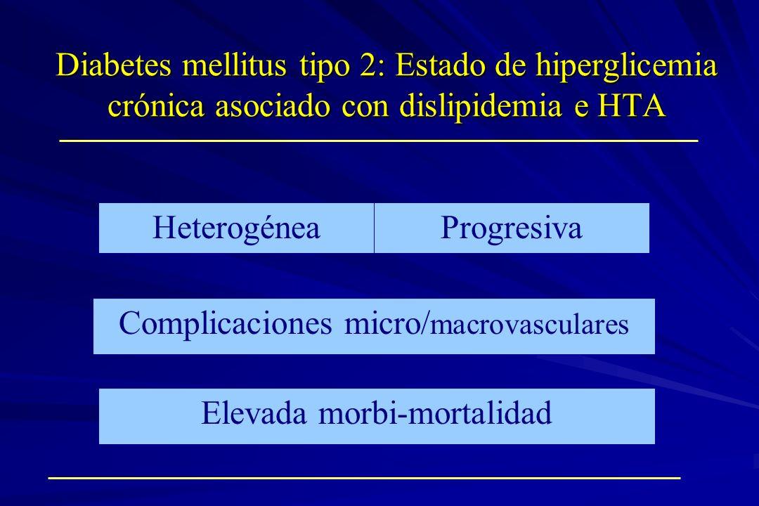 Diabetes mellitus tipo 2: Estado de hiperglicemia crónica asociado con dislipidemia e HTA Progresiva Elevada morbi-mortalidad Heterogénea Complicacion