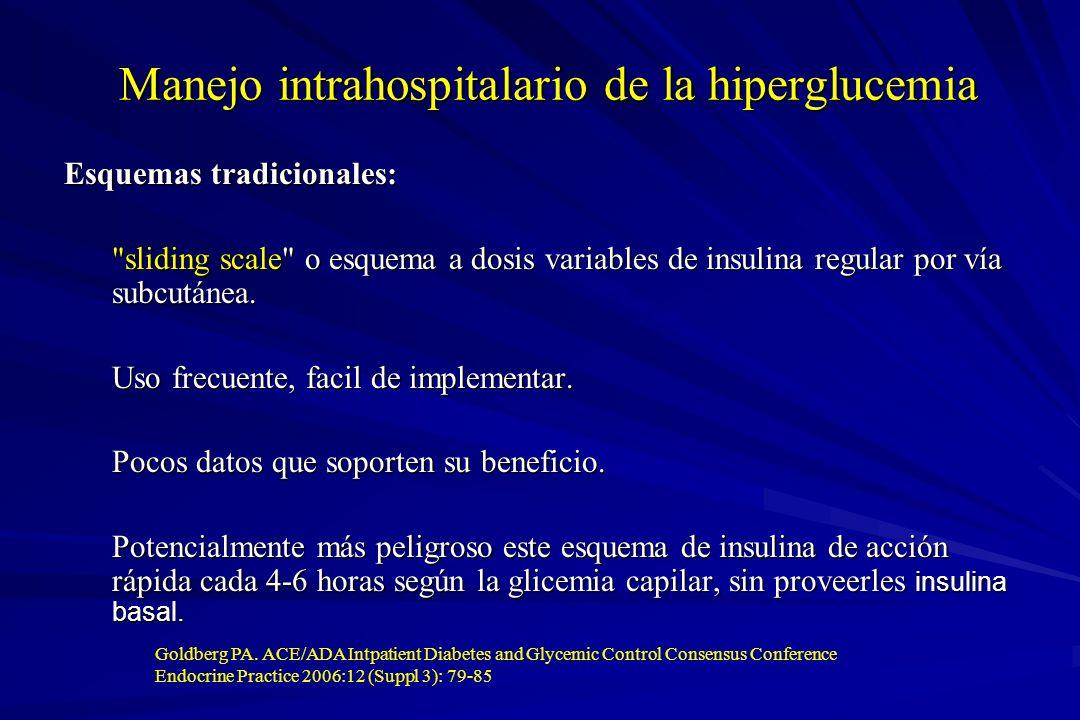 Manejo intrahospitalario de la hiperglucemia Esquemas tradicionales: