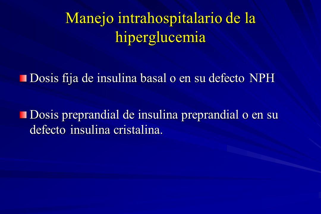 Manejo intrahospitalario de la hiperglucemia Dosis fija de insulina basal o en su defecto NPH Dosis preprandial de insulina preprandial o en su defect