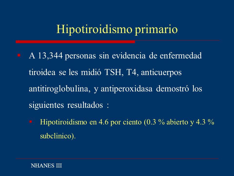Hipotiroidismo primario A 13,344 personas sin evidencia de enfermedad tiroidea se les midió TSH, T4, anticuerpos antitiroglobulina, y antiperoxidasa d