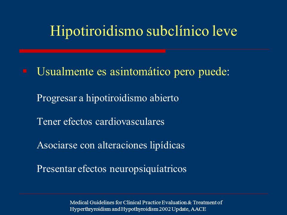 Hipotiroidismo subclínico leve Usualmente es asintomático pero puede: Progresar a hipotiroidismo abierto Tener efectos cardiovasculares Asociarse con