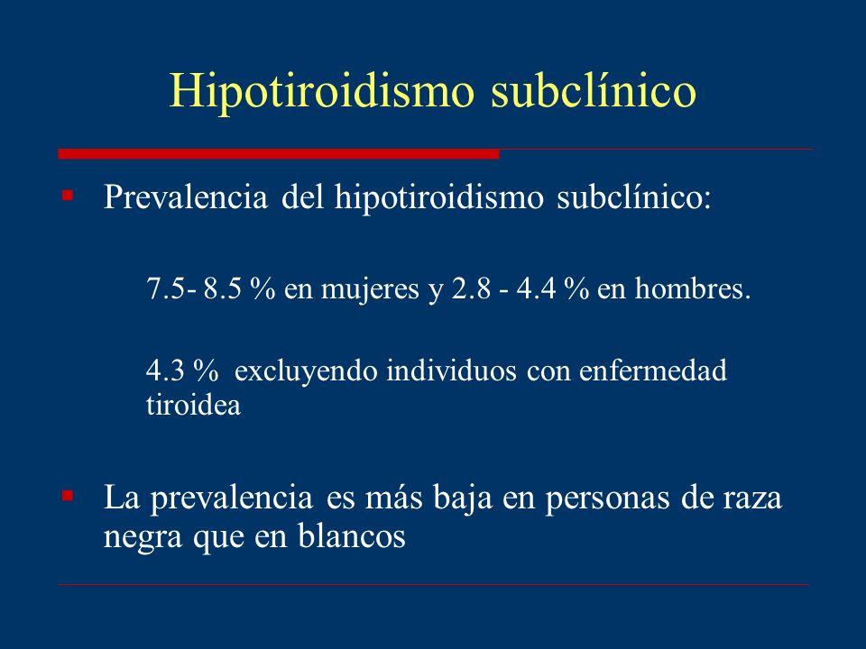 Hipotiroidismo subclínico Prevalencia del hipotiroidismo subclínico: 7.5- 8.5 % en mujeres y 2.8 - 4.4 % en hombres. 4.3 % excluyendo individuos con e