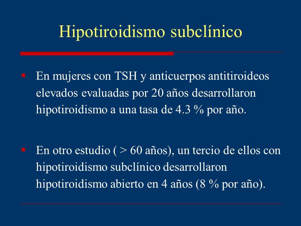 Hipotiroidismo subclínico En mujeres con TSH y anticuerpos antitiroideos elevados evaluadas por 20 años desarrollaron hipotiroidismo a una tasa de 4.3