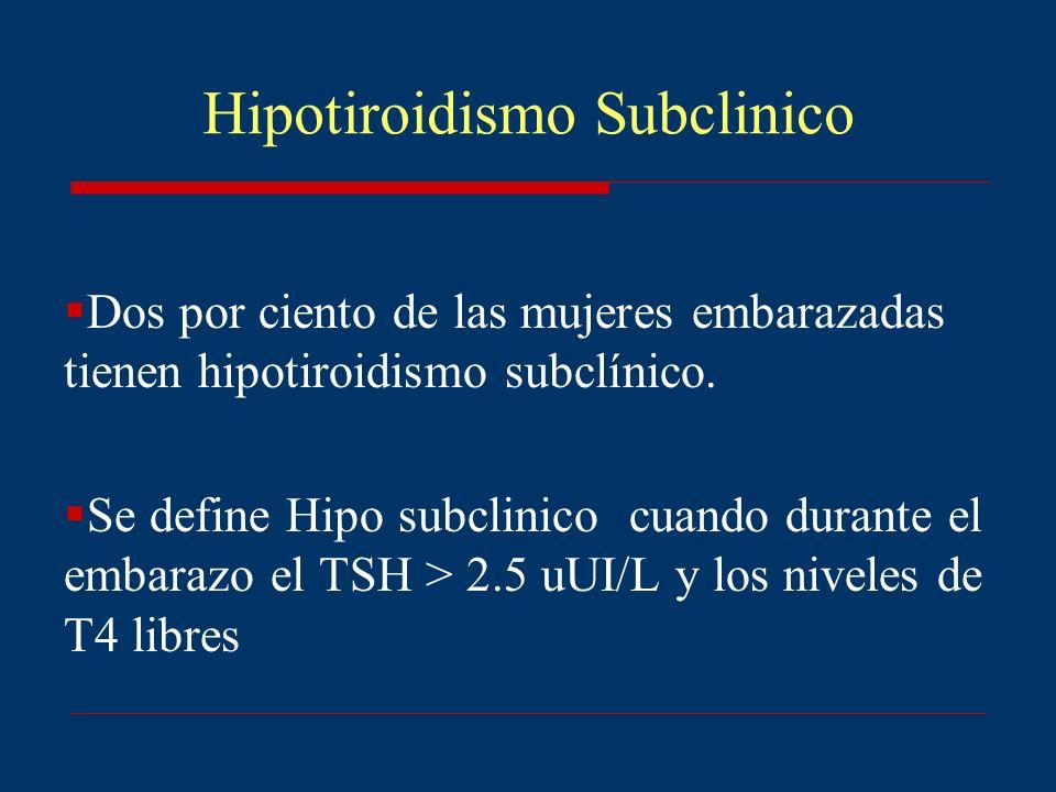 Hipotiroidismo Subclinico Dos por ciento de las mujeres embarazadas tienen hipotiroidismo subclínico. Se define Hipo subclinico cuando durante el emba