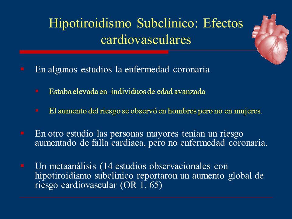 Hipotiroidismo Subclínico: Efectos cardiovasculares En algunos estudios la enfermedad coronaria Estaba elevada en individuos de edad avanzada El aumen