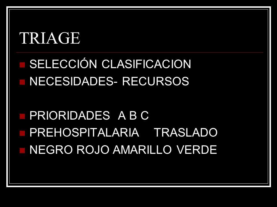 TRIAGE SELECCIÓN CLASIFICACION NECESIDADES- RECURSOS PRIORIDADES A B C PREHOSPITALARIA TRASLADO NEGRO ROJO AMARILLO VERDE