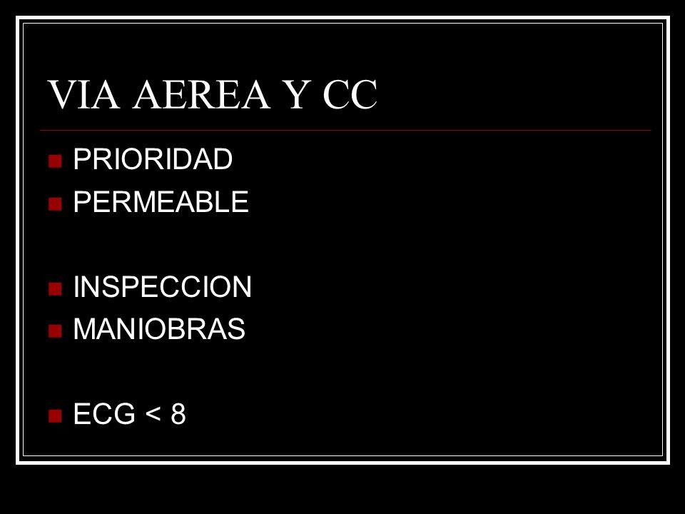 VIA AEREA Y CC PRIORIDAD PERMEABLE INSPECCION MANIOBRAS ECG < 8