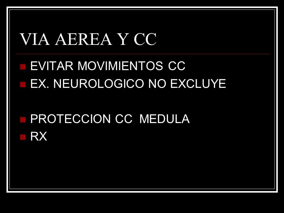 VIA AEREA Y CC EVITAR MOVIMIENTOS CC EX. NEUROLOGICO NO EXCLUYE PROTECCION CC MEDULA RX