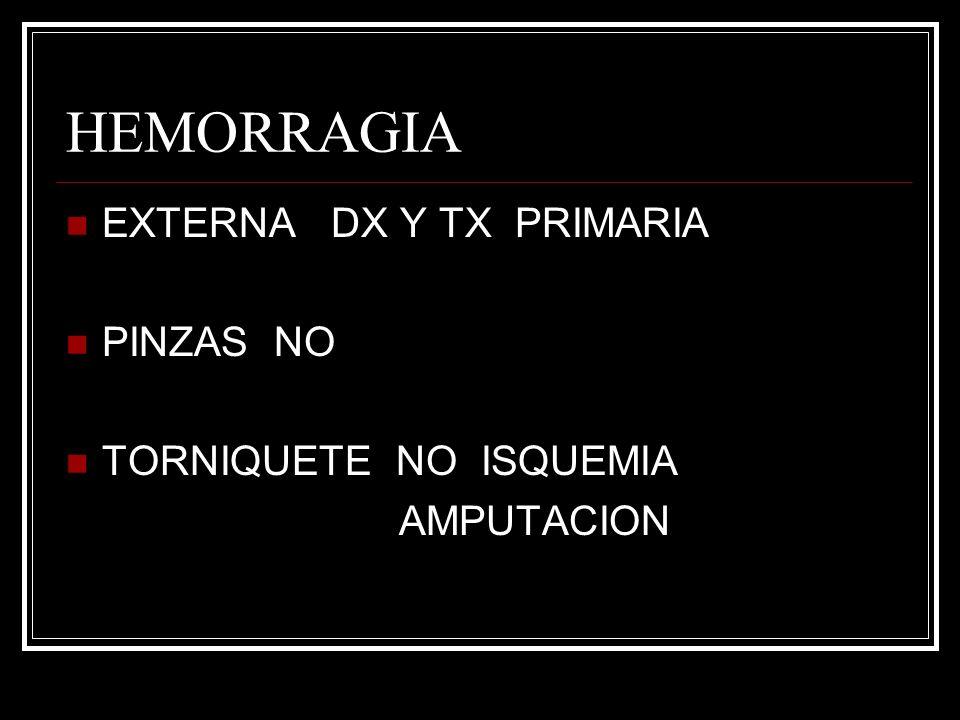 HEMORRAGIA EXTERNA DX Y TX PRIMARIA PINZAS NO TORNIQUETE NO ISQUEMIA AMPUTACION