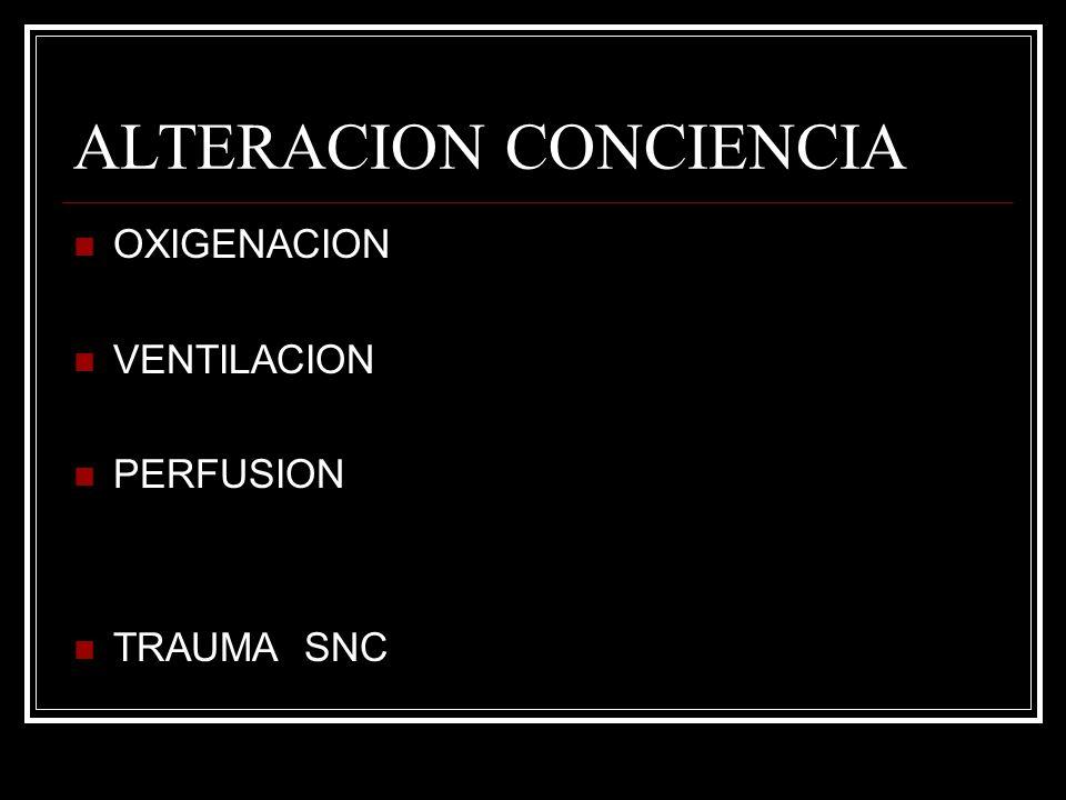 ALTERACION CONCIENCIA OXIGENACION VENTILACION PERFUSION TRAUMA SNC