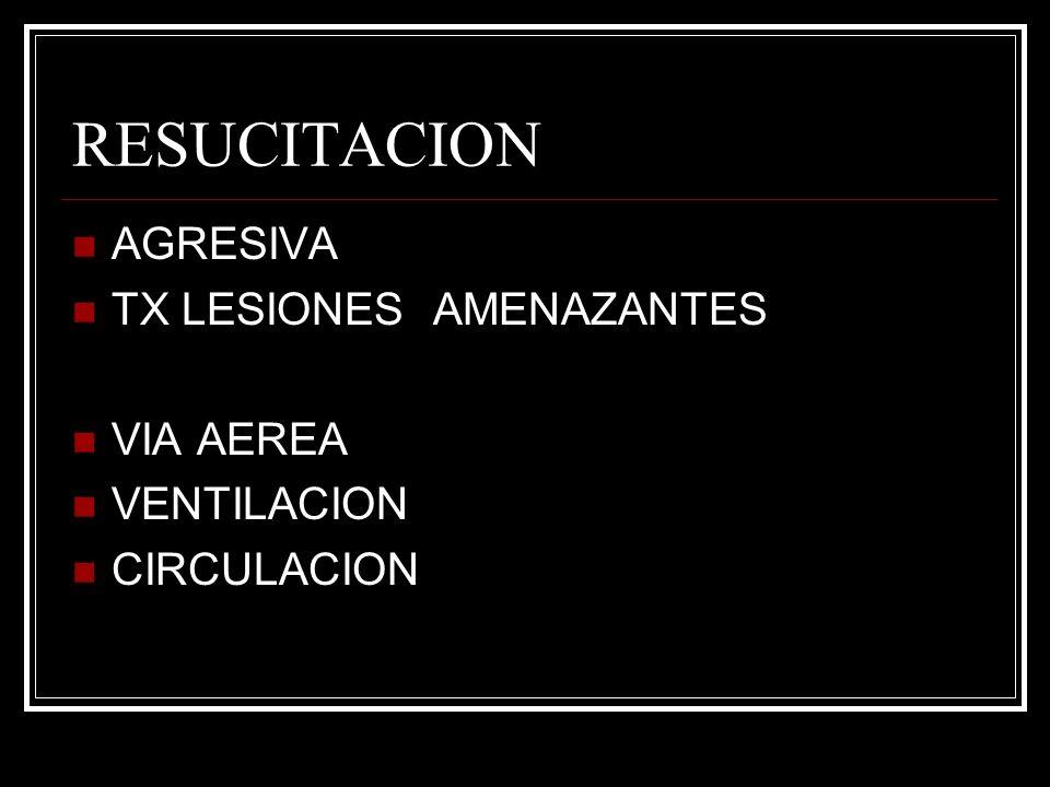 RESUCITACION AGRESIVA TX LESIONES AMENAZANTES VIA AEREA VENTILACION CIRCULACION