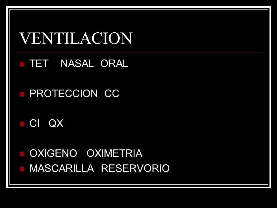VENTILACION TET NASAL ORAL PROTECCION CC CI QX OXIGENO OXIMETRIA MASCARILLA RESERVORIO