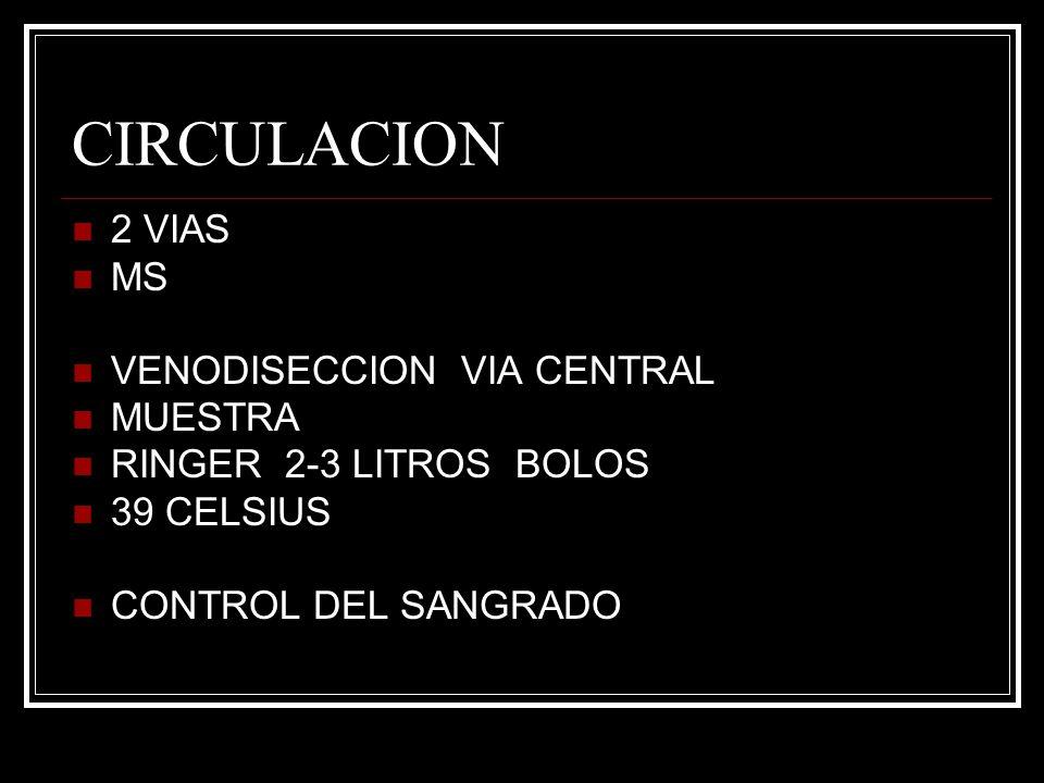 CIRCULACION 2 VIAS MS VENODISECCION VIA CENTRAL MUESTRA RINGER 2-3 LITROS BOLOS 39 CELSIUS CONTROL DEL SANGRADO