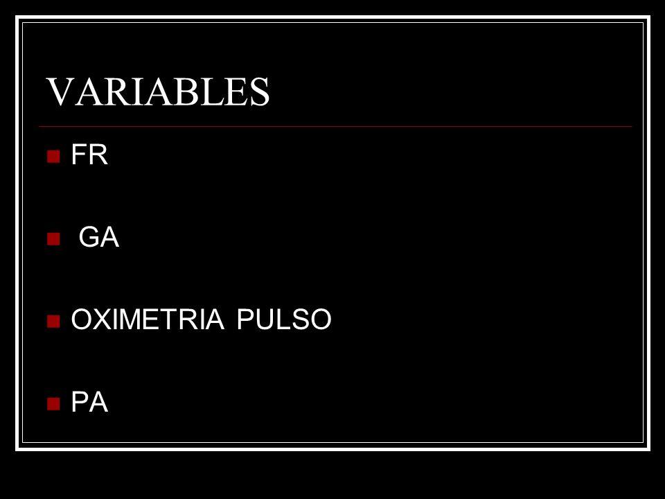 VARIABLES FR GA OXIMETRIA PULSO PA