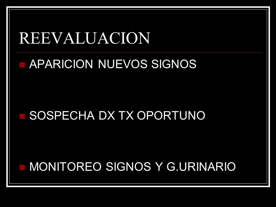 REEVALUACION APARICION NUEVOS SIGNOS SOSPECHA DX TX OPORTUNO MONITOREO SIGNOS Y G.URINARIO