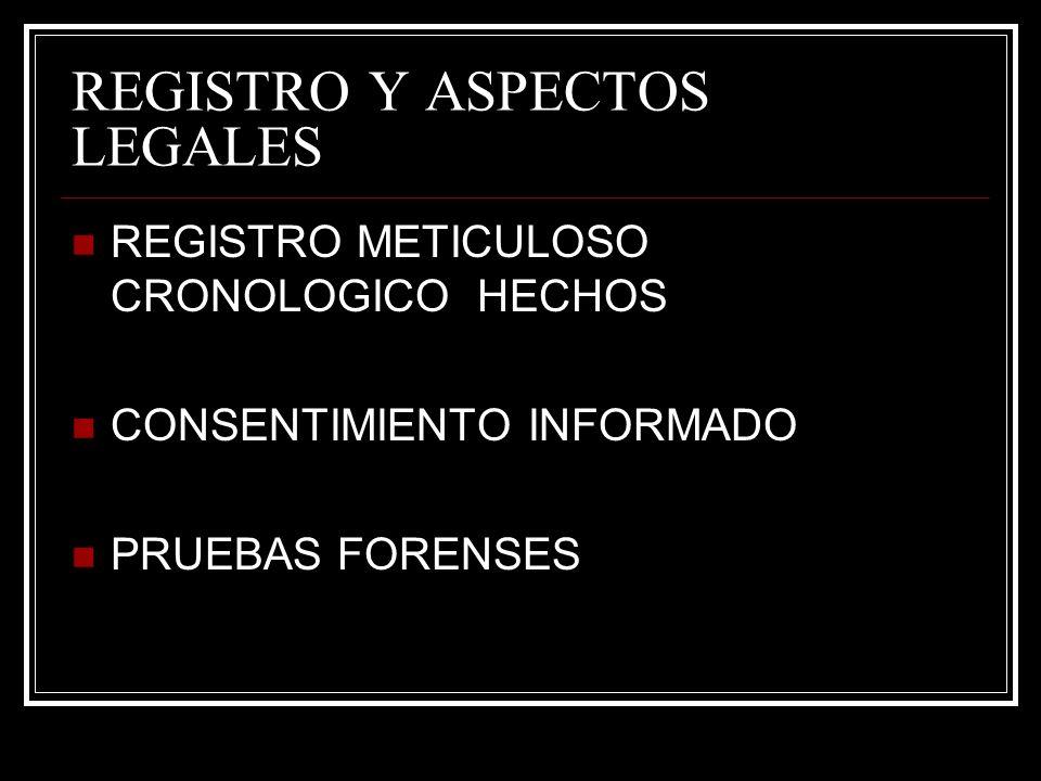 REGISTRO Y ASPECTOS LEGALES REGISTRO METICULOSO CRONOLOGICO HECHOS CONSENTIMIENTO INFORMADO PRUEBAS FORENSES