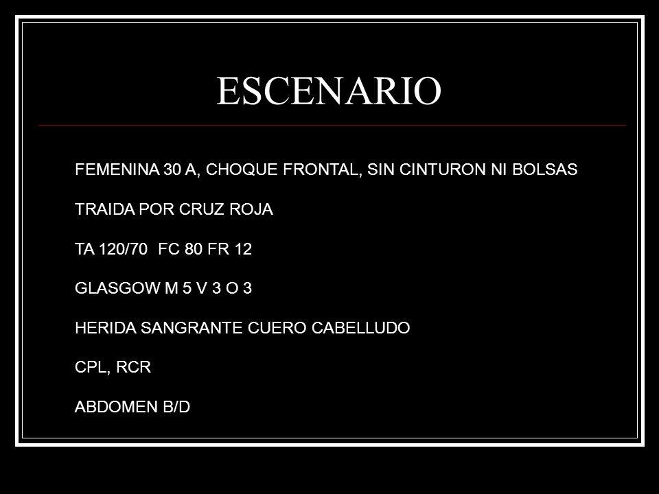 ESCENARIO FEMENINA 30 A, CHOQUE FRONTAL, SIN CINTURON NI BOLSAS TRAIDA POR CRUZ ROJA TA 120/70 FC 80 FR 12 GLASGOW M 5 V 3 O 3 HERIDA SANGRANTE CUERO