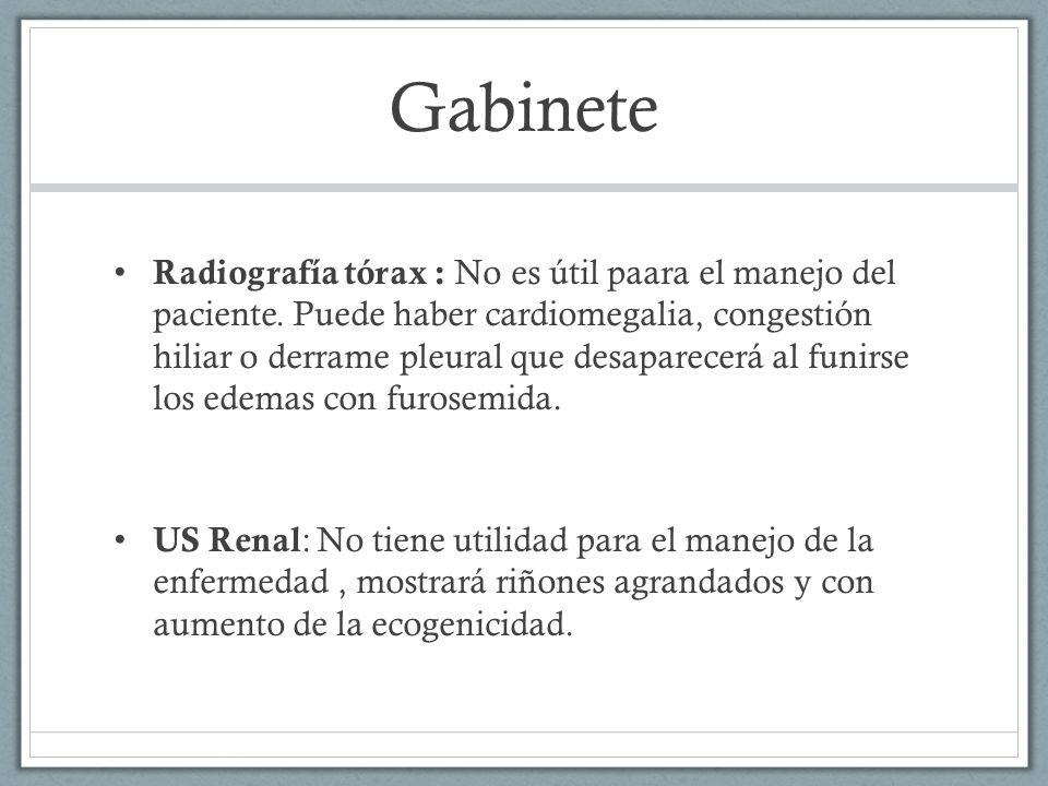 Gabinete Radiografía tórax : No es útil paara el manejo del paciente. Puede haber cardiomegalia, congestión hiliar o derrame pleural que desaparecerá