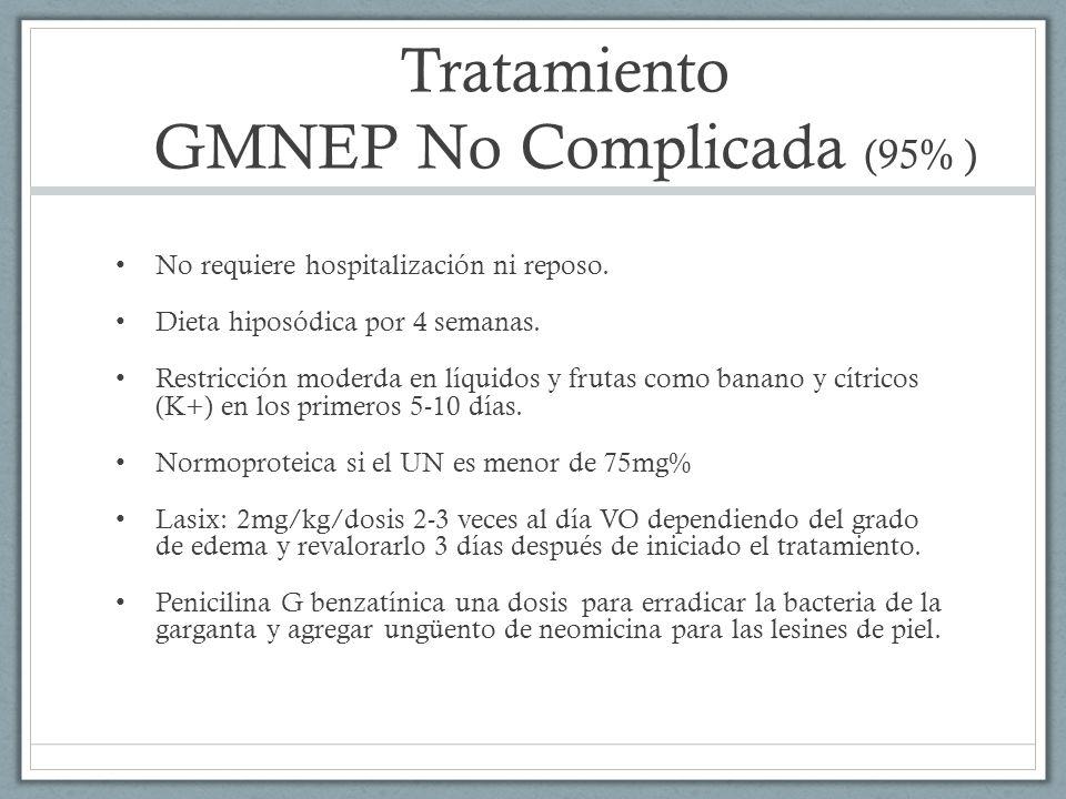 Tratamiento GMNEP No Complicada (95% ) No requiere hospitalización ni reposo. Dieta hiposódica por 4 semanas. Restricción moderda en líquidos y frutas