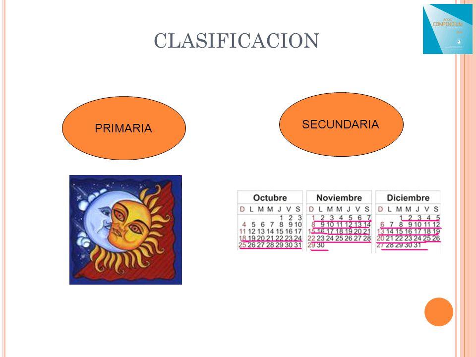 CLASIFICACION PRIMARIA SECUNDARIA