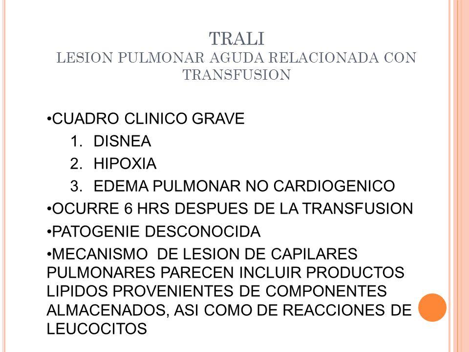 TRALI LESION PULMONAR AGUDA RELACIONADA CON TRANSFUSION CUADRO CLINICO GRAVE 1.DISNEA 2.HIPOXIA 3.EDEMA PULMONAR NO CARDIOGENICO OCURRE 6 HRS DESPUES