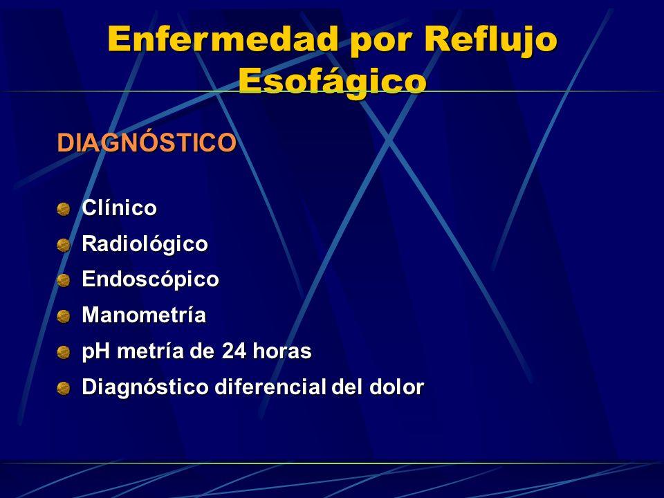 Enfermedad por Reflujo Esofágico DIAGNÓSTICOClínicoRadiológicoEndoscópicoManometría pH metría de 24 horas Diagnóstico diferencial del dolor
