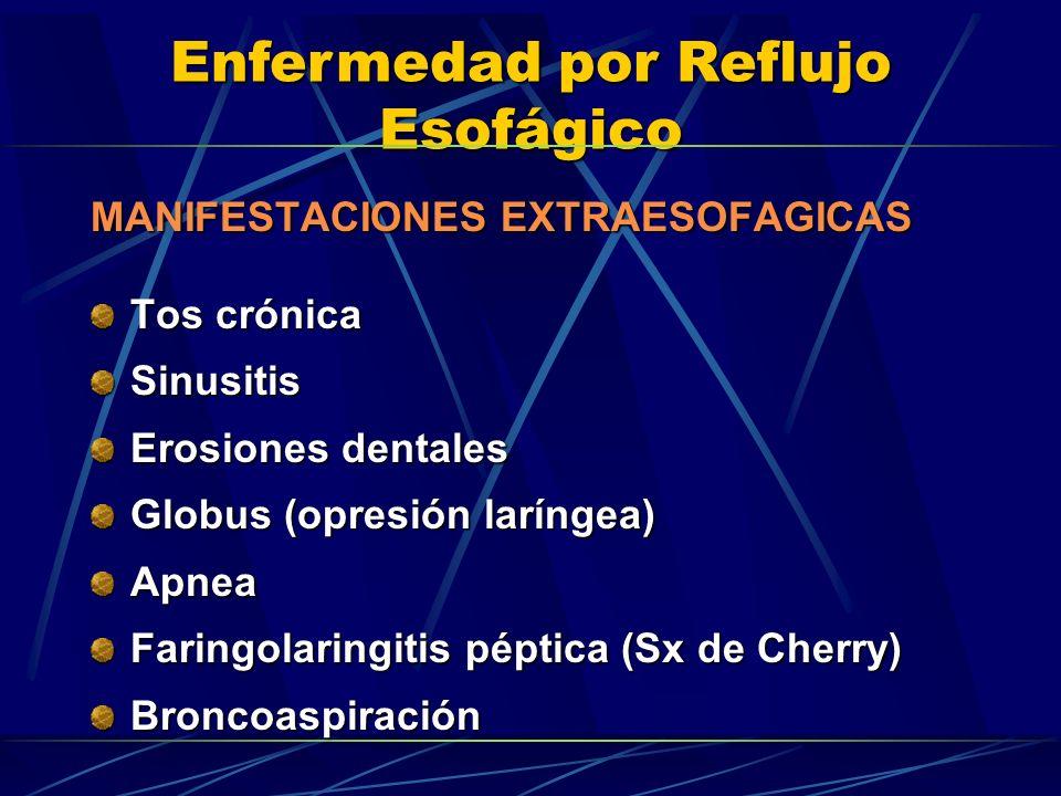 Enfermedad por Reflujo Esofágico MANIFESTACIONES EXTRAESOFAGICAS Tos crónica Sinusitis Erosiones dentales Globus (opresión laríngea) Apnea Faringolari