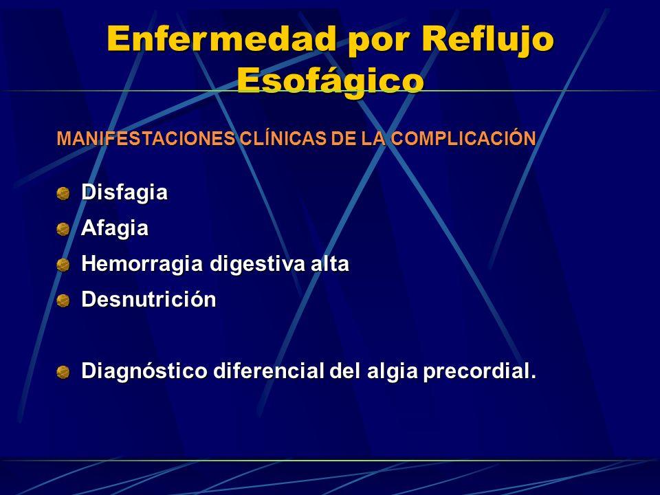 Enfermedad por Reflujo Esofágico MANIFESTACIONES CLÍNICAS DE LA COMPLICACIÓN DisfagiaAfagia Hemorragia digestiva alta Desnutrición Diagnóstico diferen