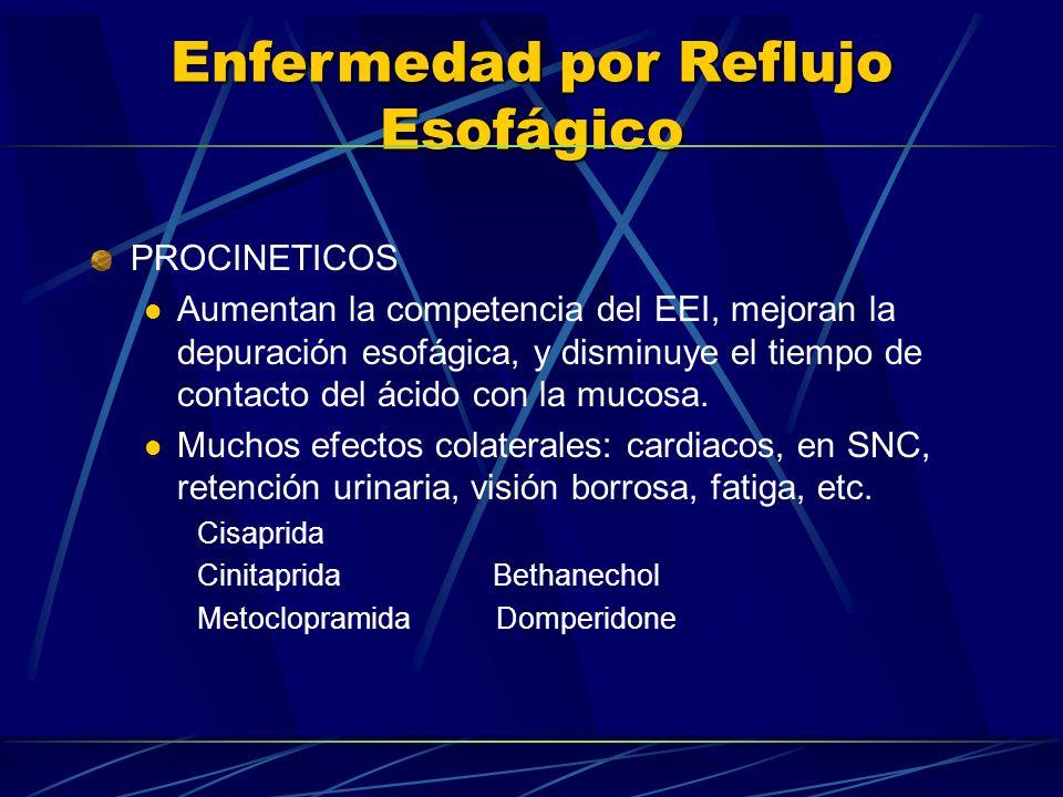 Enfermedad por Reflujo Esofágico PROCINETICOS Aumentan la competencia del EEI, mejoran la depuración esofágica, y disminuye el tiempo de contacto del