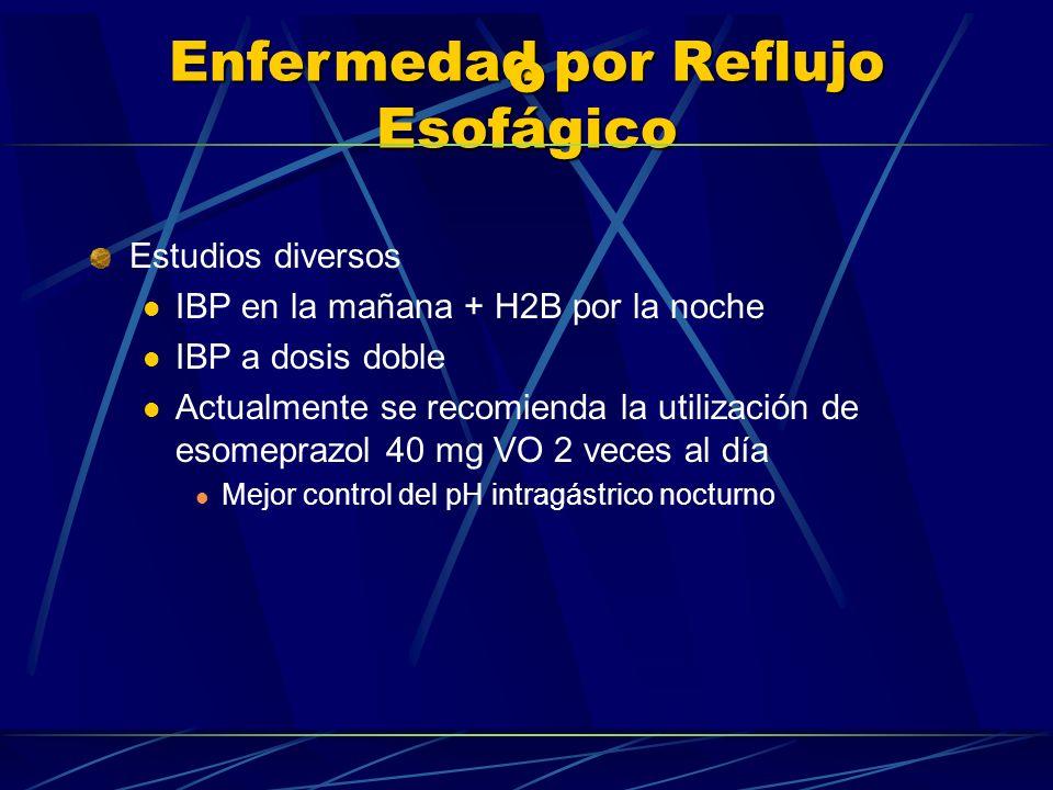 Enfermedad por Reflujo Esofágico o Estudios diversos IBP en la mañana + H2B por la noche IBP a dosis doble Actualmente se recomienda la utilización de