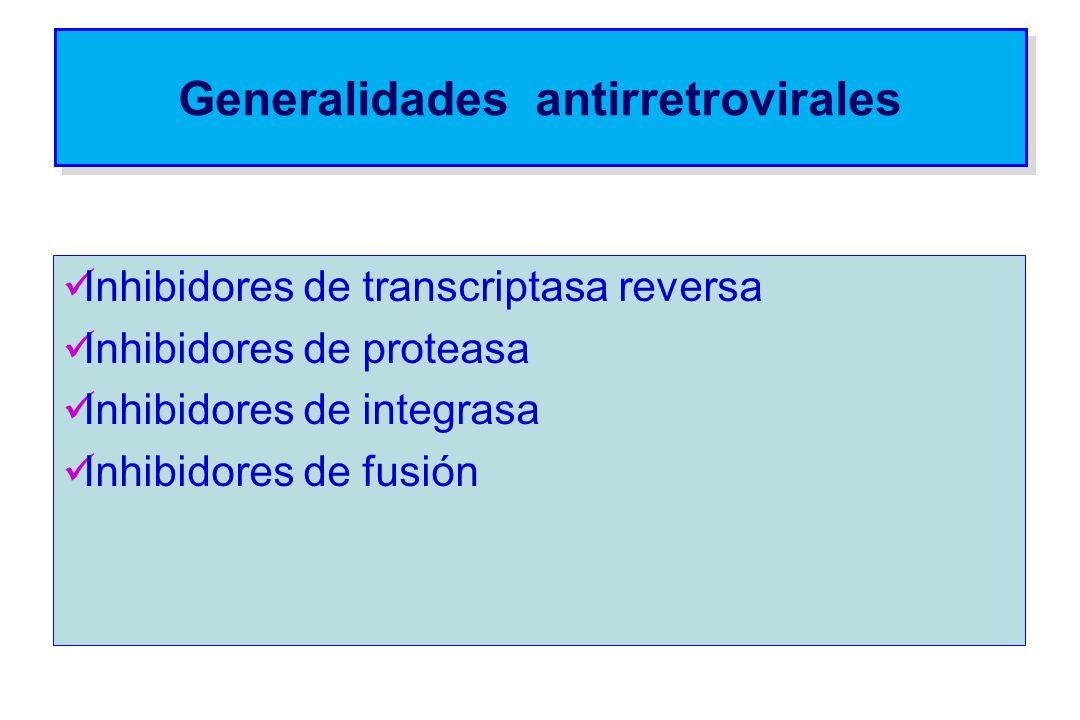 Generalidades antirretrovirales Inhibidores de transcriptasa reversa Inhibidores de proteasa Inhibidores de integrasa Inhibidores de fusión