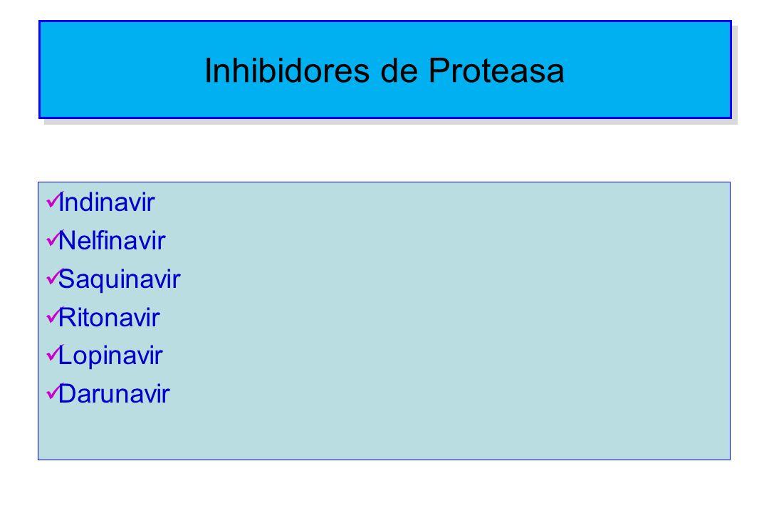 Inhibidores de Proteasa Indinavir Nelfinavir Saquinavir Ritonavir Lopinavir Darunavir