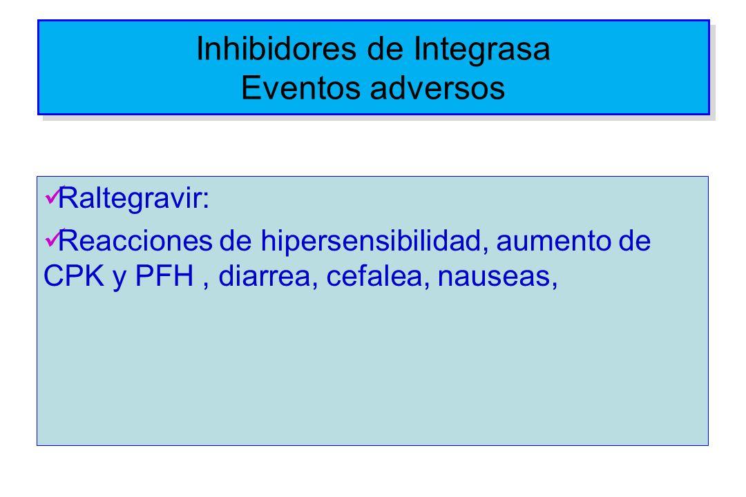 Inhibidores de Integrasa Eventos adversos Raltegravir: Reacciones de hipersensibilidad, aumento de CPK y PFH, diarrea, cefalea, nauseas,