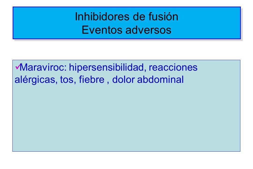 Inhibidores de fusión Eventos adversos Maraviroc: hipersensibilidad, reacciones alérgicas, tos, fiebre, dolor abdominal