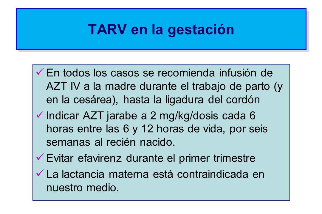 TARV en la gestación En todos los casos se recomienda infusión de AZT IV a la madre durante el trabajo de parto (y en la cesárea), hasta la ligadura d