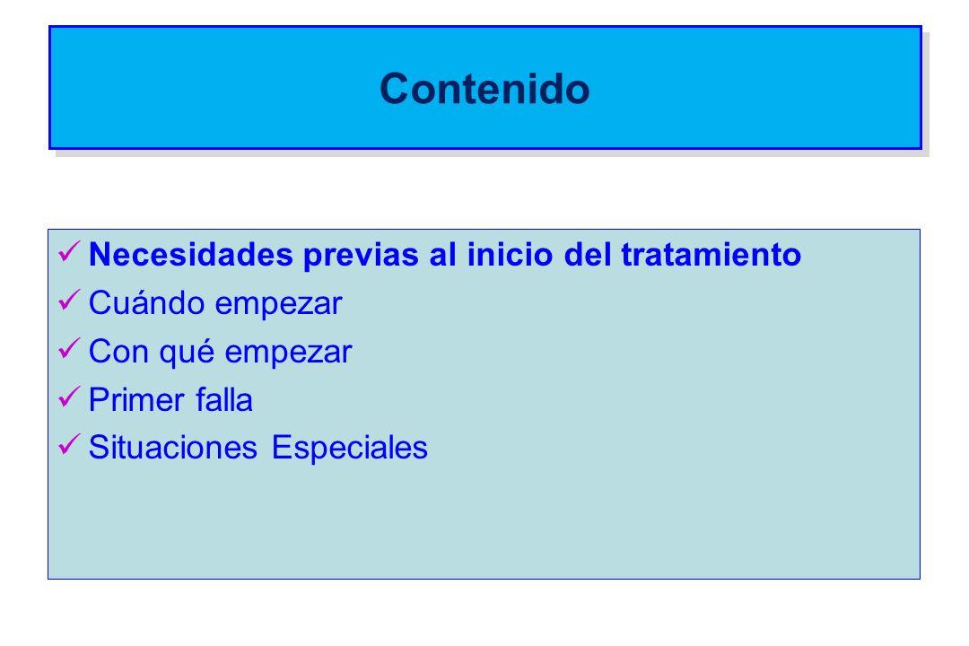 Cuándo empezar Guías CCSS 2012 Linfocitos CD4Paciente asintomático Nivel de evidencia < 200Iniciar sin demoraA 350-500Recomendado comenzar C > 500DiferirB
