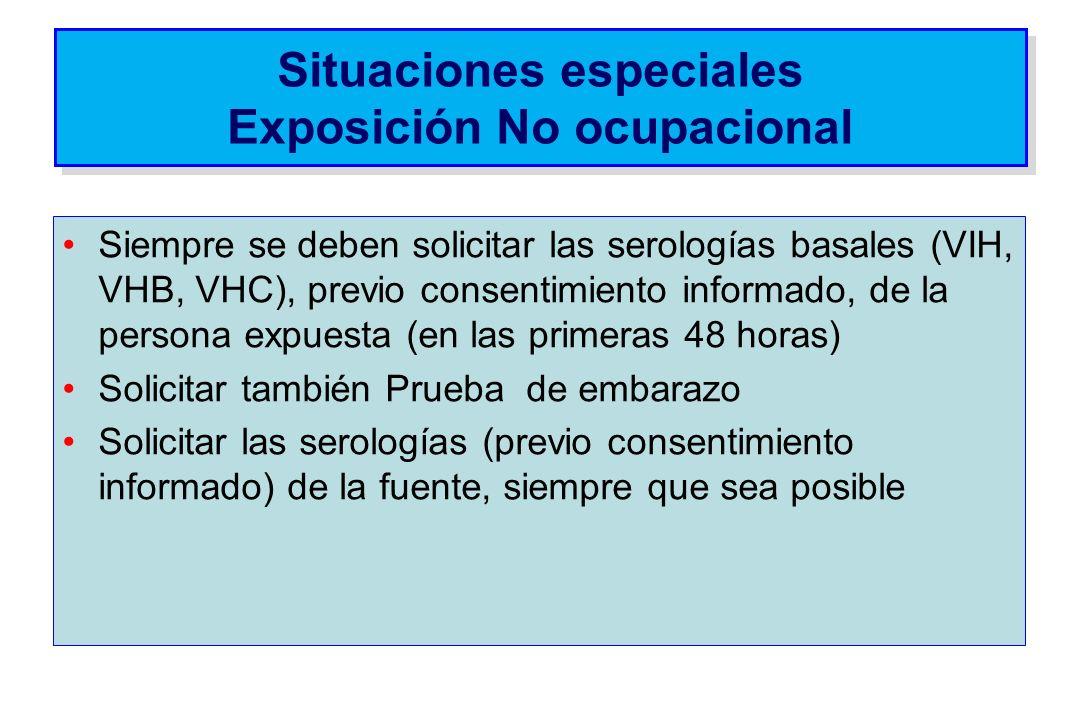 Situaciones especiales Exposición No ocupacional Siempre se deben solicitar las serologías basales (VIH, VHB, VHC), previo consentimiento informado, d
