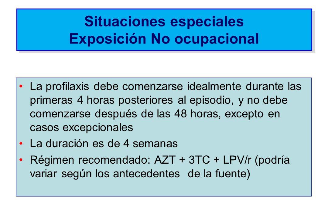 Situaciones especiales Exposición No ocupacional La profilaxis debe comenzarse idealmente durante las primeras 4 horas posteriores al episodio, y no d