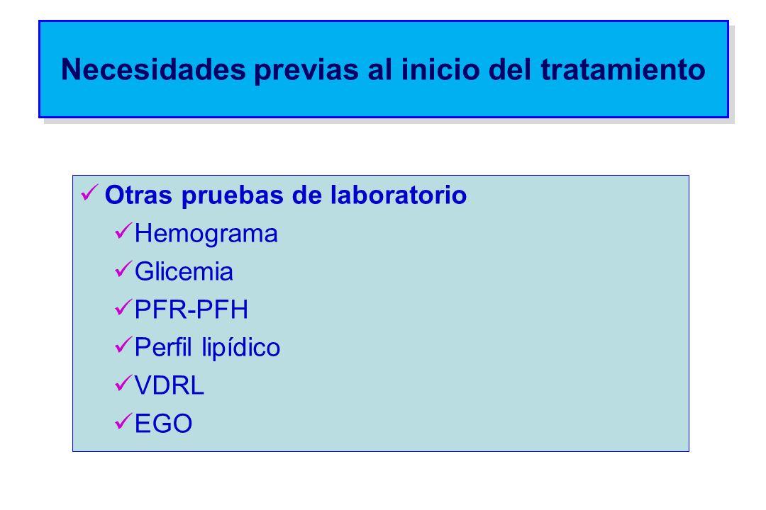 Necesidades previas al inicio del tratamiento Otras pruebas de laboratorio Hemograma Glicemia PFR-PFH Perfil lipídico VDRL EGO