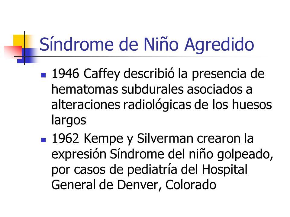 Síndrome de Niño Agredido 1946 Caffey describió la presencia de hematomas subdurales asociados a alteraciones radiológicas de los huesos largos 1962 K