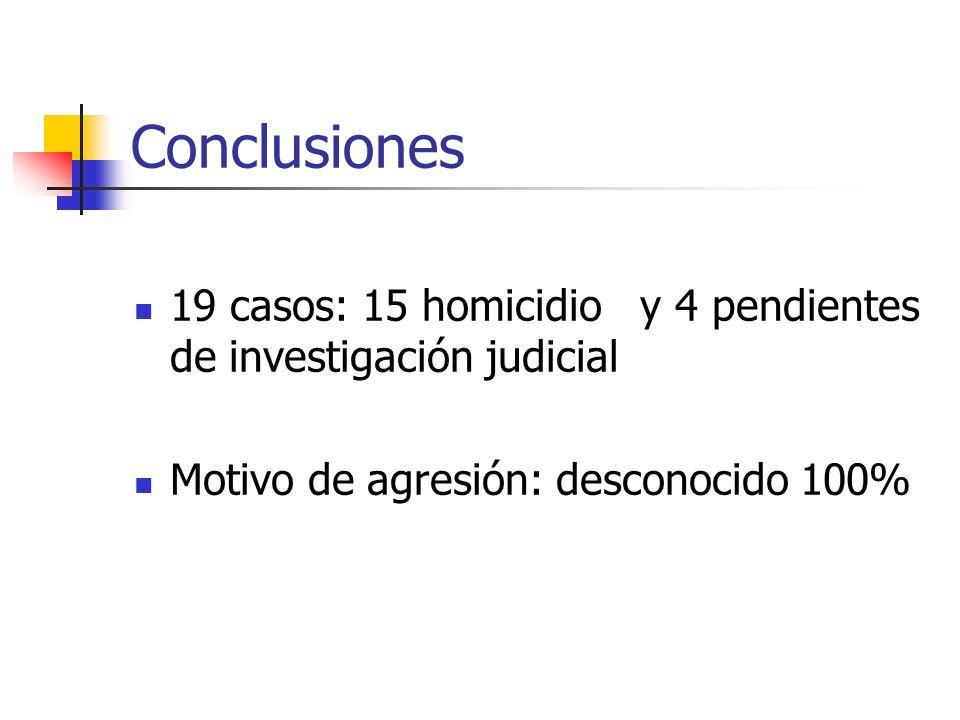 Conclusiones 19 casos: 15 homicidio y 4 pendientes de investigación judicial Motivo de agresión: desconocido 100%