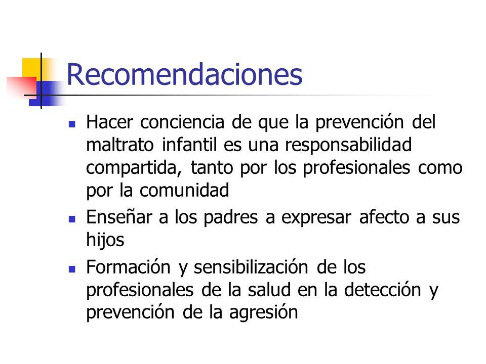 Recomendaciones Hacer conciencia de que la prevención del maltrato infantil es una responsabilidad compartida, tanto por los profesionales como por la