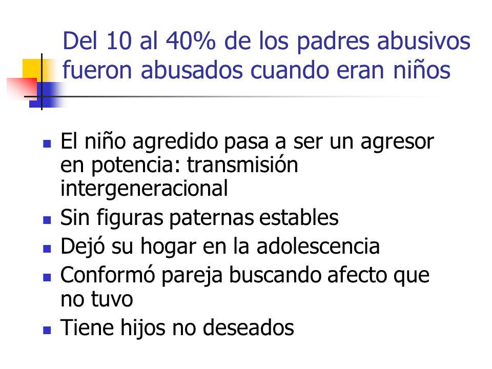Del 10 al 40% de los padres abusivos fueron abusados cuando eran niños El niño agredido pasa a ser un agresor en potencia: transmisión intergeneracion