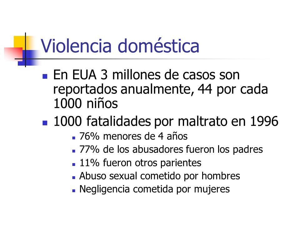 Violencia doméstica En EUA 3 millones de casos son reportados anualmente, 44 por cada 1000 niños 1000 fatalidades por maltrato en 1996 76% menores de