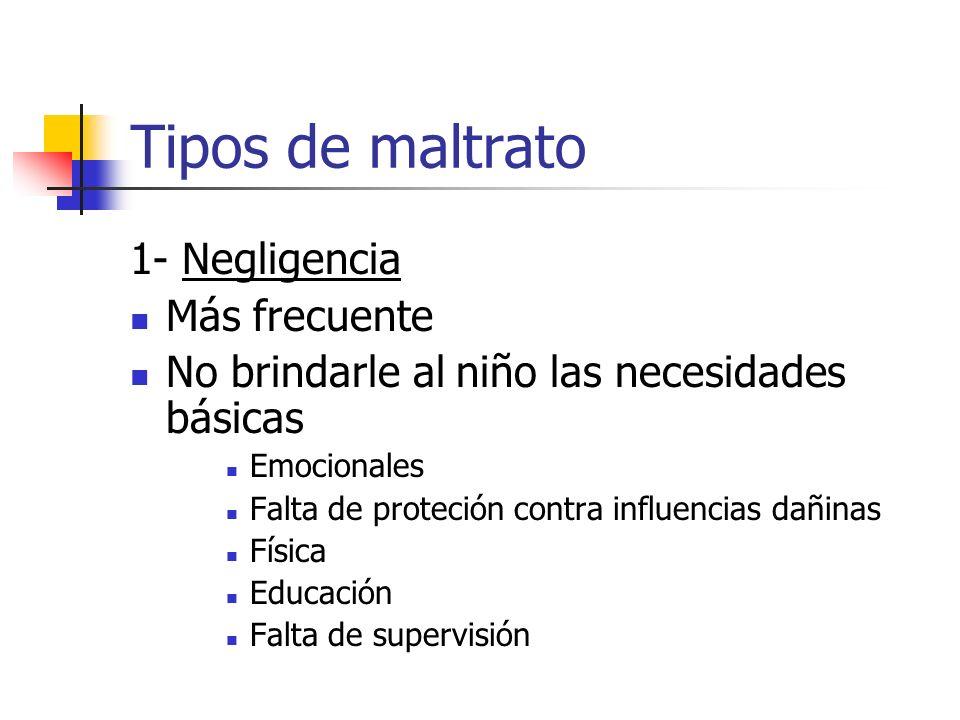 Tipos de maltrato 1- Negligencia Más frecuente No brindarle al niño las necesidades básicas Emocionales Falta de proteción contra influencias dañinas