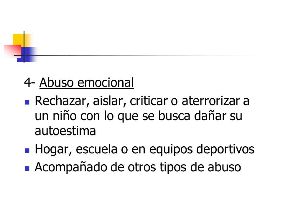 4- Abuso emocional Rechazar, aislar, criticar o aterrorizar a un niño con lo que se busca dañar su autoestima Hogar, escuela o en equipos deportivos A